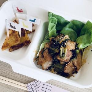 広島菜キムチと豚トロ炒め&がんす
